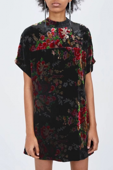 Fashionable Floral Round Neck Batwing Sleeve Mini Dress