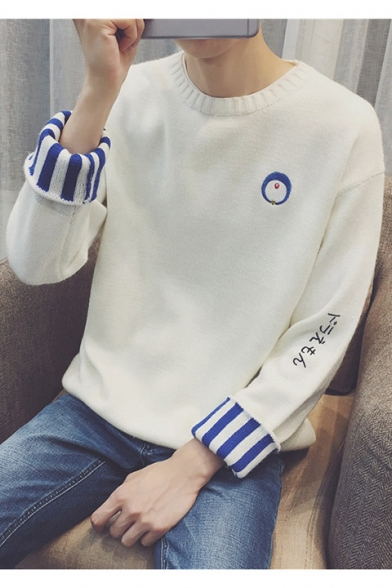 Cartoon Round Sweater Sleeve Neck Leisure Embroidered Long Bvwyqd