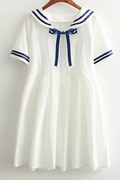 New Fashion Contrast Striped Navy Collar Short Sleeve Pleated Mini Dress