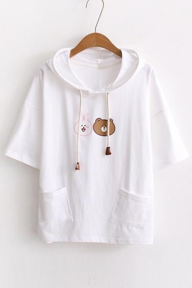 Tee Sleeve Fashion Short Print New Lovely Cartoon Hooded Bear nwUx8PPFq0