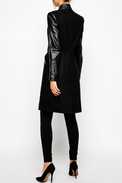 New Fashion Simple Plain Leather Panel Long Sleeve Trench Coat