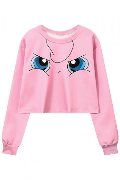 New Stylish Cartoon Face Print Round Neck Long Sleeve Cropped Pullover Sweatshirt