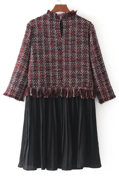New Stylish Plaid Print Color Block Patchwork Long Sleeve Pleated Dress