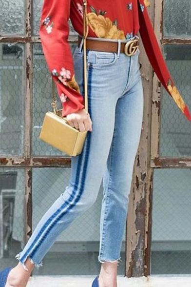 New Stylish Zip Fly Asymmetric Cuff Skinny Jeans