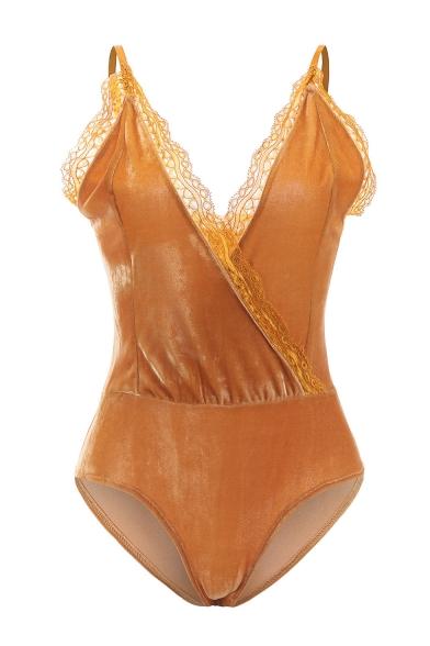 Velvet Sexy Open Sleeveless Wrap Back Bodysuit Front CRw8OqER