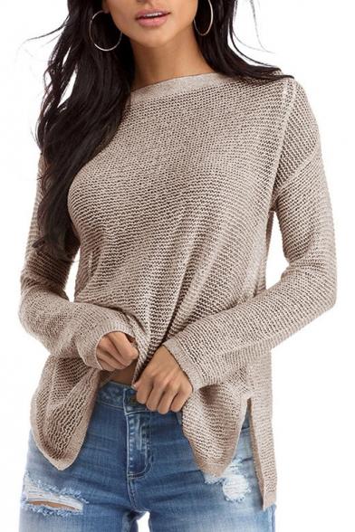 Simple Long Pullover Split Plain Side Sweater Dipped Hem Sleeve qUUXrzxw