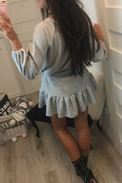 Simple Plain V-Neck Drawstring Waist Ruffle Hem Long Sleeve A-Line Mini Dress