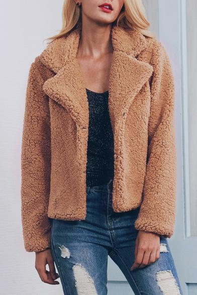 Chic Long Sleeve Notched Lapel Open Front Plain Faux Fur Coat