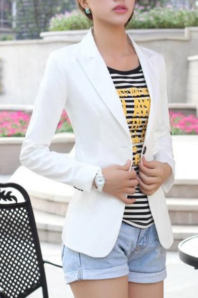 Slim Long Notch Plain Sleeve Blazer Simple Lapel Chic 6OHwYqw