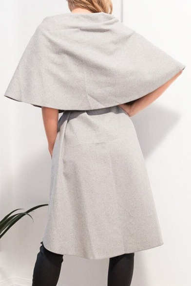 Sleeveless Simple Coat Oversize Cloak Front Plain Chic Lapel Tie gPqYYwd