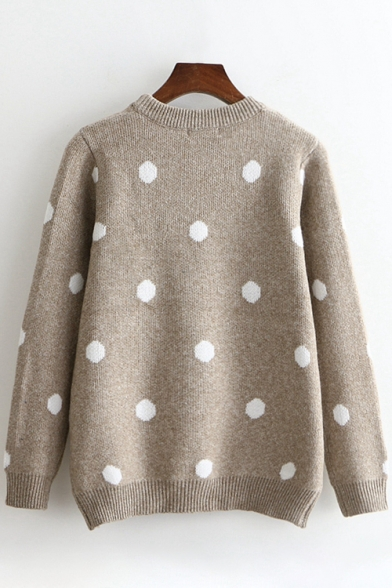 Christmas Elk Polka Dot Pattern Long Sleeve Round Neck Warm Sweater