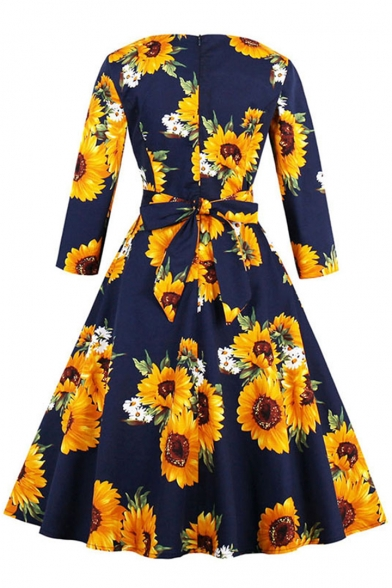 Classic Contrast Floral Printed Half Sleeves Round Neck Belted Fit & Flare Midi Dress