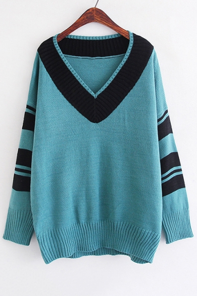 Color Block Striped V-Neck Long Sleeve Pullvoer Sweater