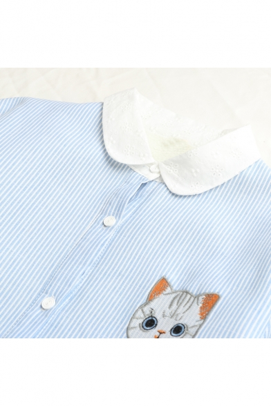 Cute Cartoon Cat Embroidered Ruffle Long Sleeve Collar Striped Shirt