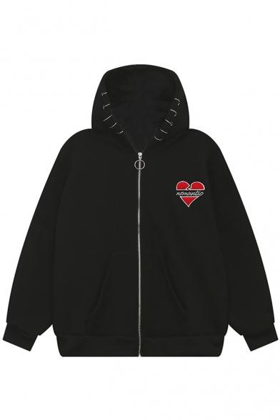 Embroidery Letter Heart Print Grommet Detail Drop Sleeve Zipper Hooded Coat