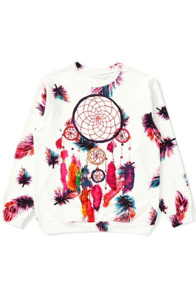 Fashion Feather Print Round Neck Long Sleeve Loose Pullover Sweatshirt