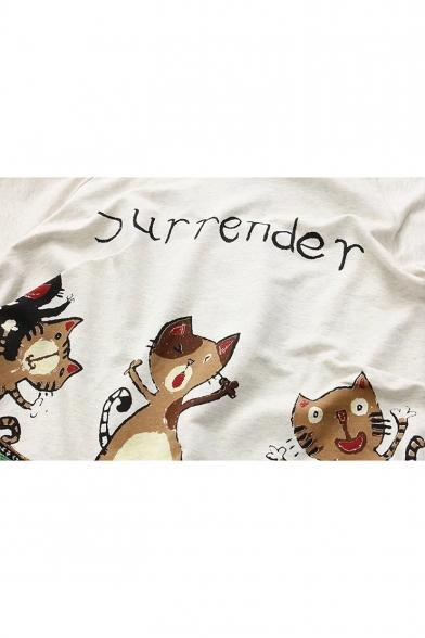 New Fashion Cartoon Cats Print Long Sleeve Hooded Cape Coat