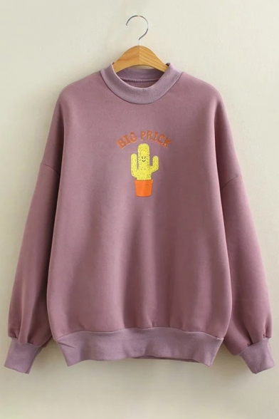 New Fashion Cartoon Print Round Neck Long Sleeve Pullover Sweatshirt