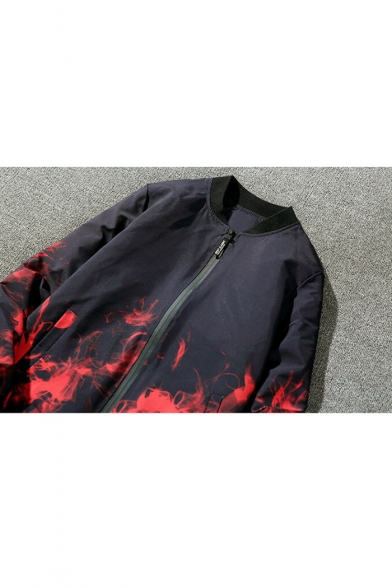 New Fashion Fire Print Stand-Up Collar Long Sleeve Bomber Jacket