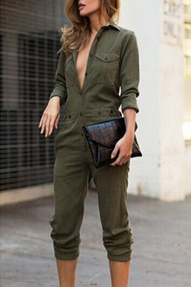New Fashion Plain Lapel Buttons Down Long Sleeve Jumpsuit