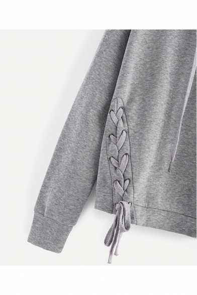 Fashion New Hoodie Sleeve SImple Long Crisscross Side Plain vadFa8q