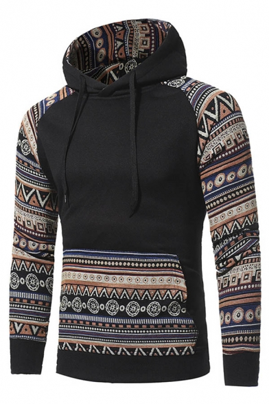 New Unisex Drawstring Stylish Leisure Hoodie Hood Print Tribal rqUOYrA