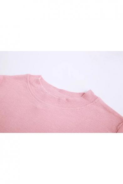 Long Turtleneck Slim Sleeve Mini Fitted Plain Retro Dress Simple FpxwR