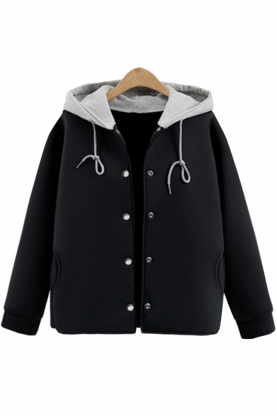 Simple Contrast Hooded Long Sleeves Button-Down Plain Coat with Pockets