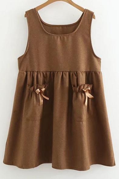 Simple Plain Bow Embellished Sleeveless Swing Mini Dress