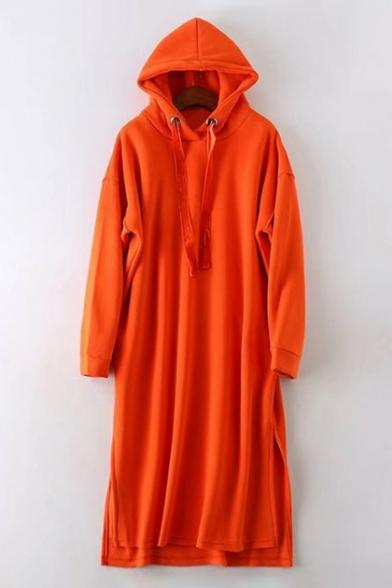 Simple Plain Drawstring Hood Long Sleeve High Low Hem Dress