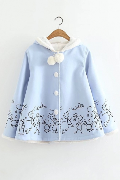 Sleeve Woolen Down Coat Buttons Warm Cartoon Long Print gxqw88IC