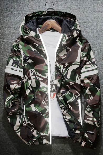 Chic Camouflage Print Long Sleeve Zipper Hooded Coat