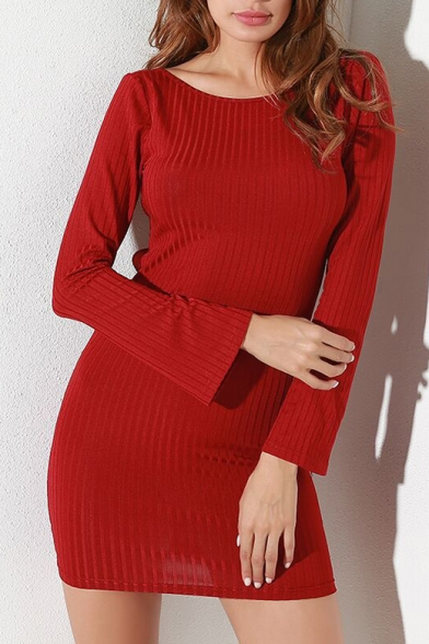 Chic Simple Plain Round Neck Long Sleeve Shift Min Dress