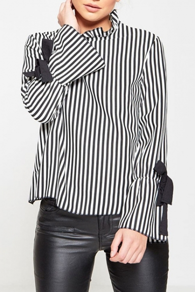 Chic Striped Print Strapped Open Back Ruffle Detail Long Sleeve Blouse