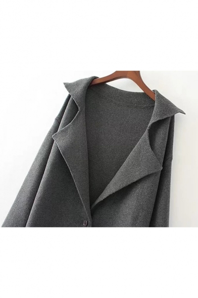 Plain Long Knitted Lapel Button Sleeves Elegant One Cardigan Notched Longline 1x0nRHHT