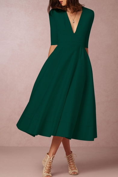 Elegant Plunge Neck Half Sleeves A-line Plain Midi Dress