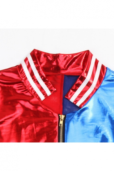Fashion Color Block Letter Print Zipper Long Sleeve Cropped Jacket