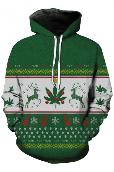New Fashion Christmas Graphic Print Long Sleeve Hoodie