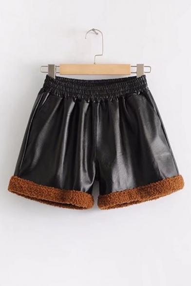 New Fashion Elastic Color Block Leather Shorts