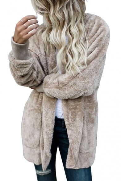 New Fashion Simple Plain Open Front Long Sleeve Fur Coat