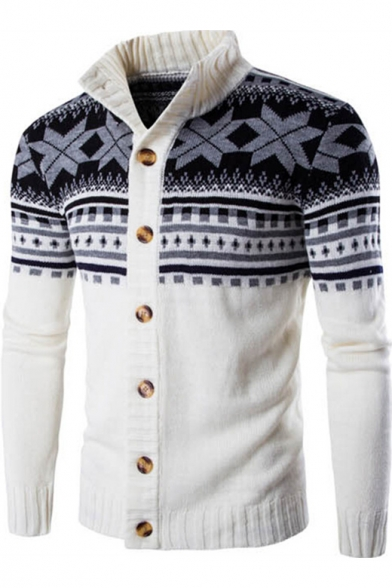 New Fashion Simple Striped Stand-Up Collar Long Sleeve Buttons Down Cardigan