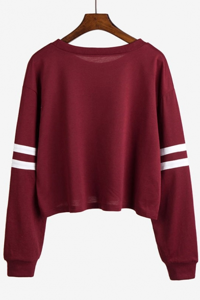 Long Pullover Sweatshirt Sleeve Stylish Alien Neck New Cropped Print Round FR1BwH
