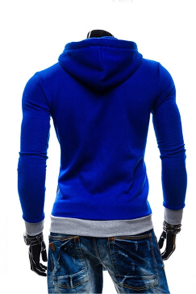 New Drawstring Block Color Stylish Sleeve Up Long Hood Hoodie Zip qxRfqw