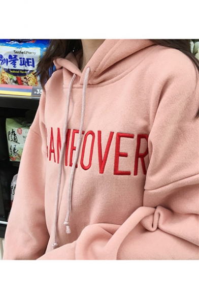 New Long Sleeve Hood Drawstring Hoodie Pattern Letter Stylish HnH6X1B