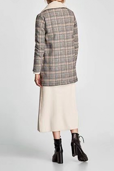 Coat Notched Sleeve Lapel Classic Long Stylish New Plaid pqvwA0p