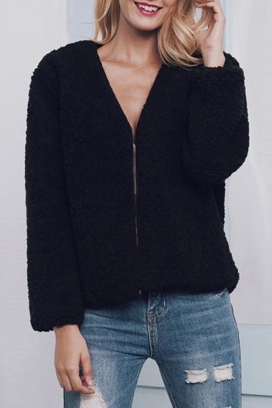 New Stylish Open Front Plain Long Sleeve Faux Fur Coat