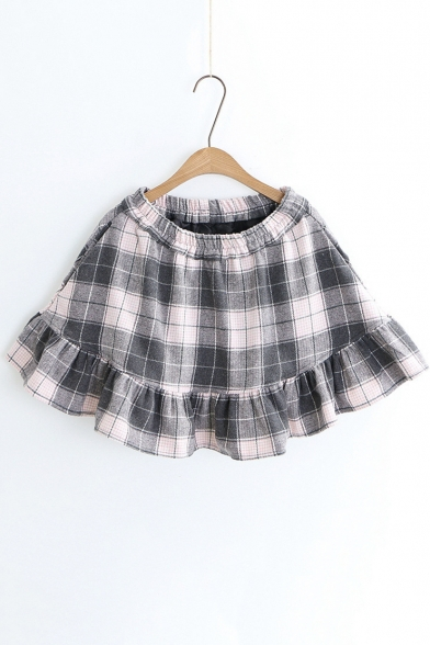 Simple Plaid Ruffle Hem Elastic Waist A-Line Mini Skirt