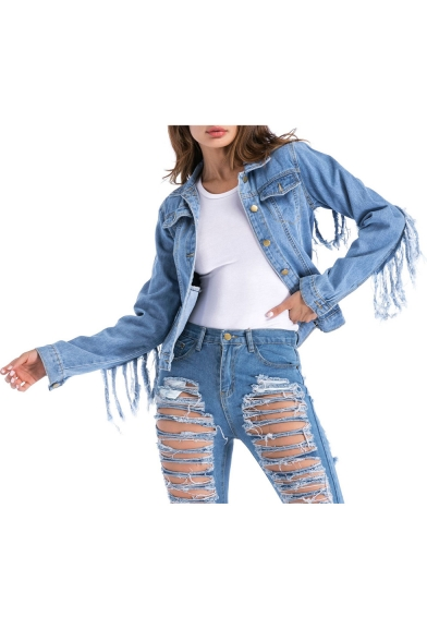 Stylish Collared Long Sleeve Tassel Back Denim Jacket