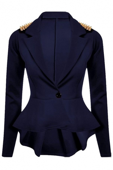 Simple Notch Embellished Blazer Lapel Sleeve Chic Rivet Long HpdOOw