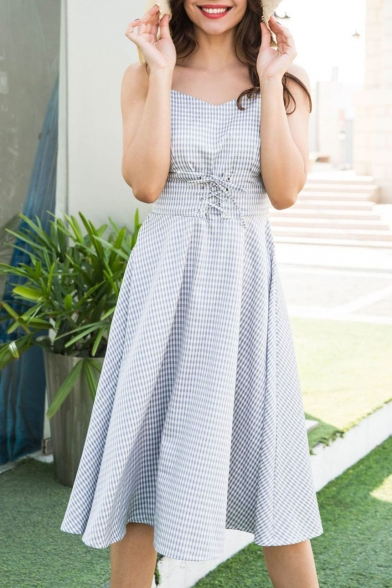 Chic V-Neck Plaid Crisscross Waist Straps Sleeveless A-line Midi Dress